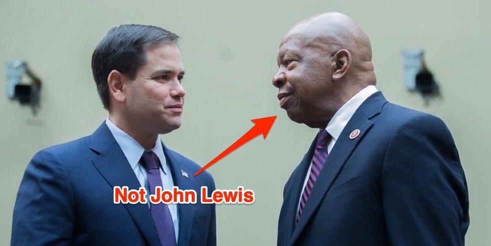 Marco Rubio confundió al representante John Lewis por otro difunto legislador negro