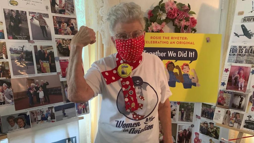 94-year-old original 'Rosie the Riveter' makes Covid-19 masks