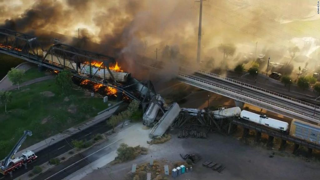A fiery train derailment in Arizona, where part of a bridge collapsed.