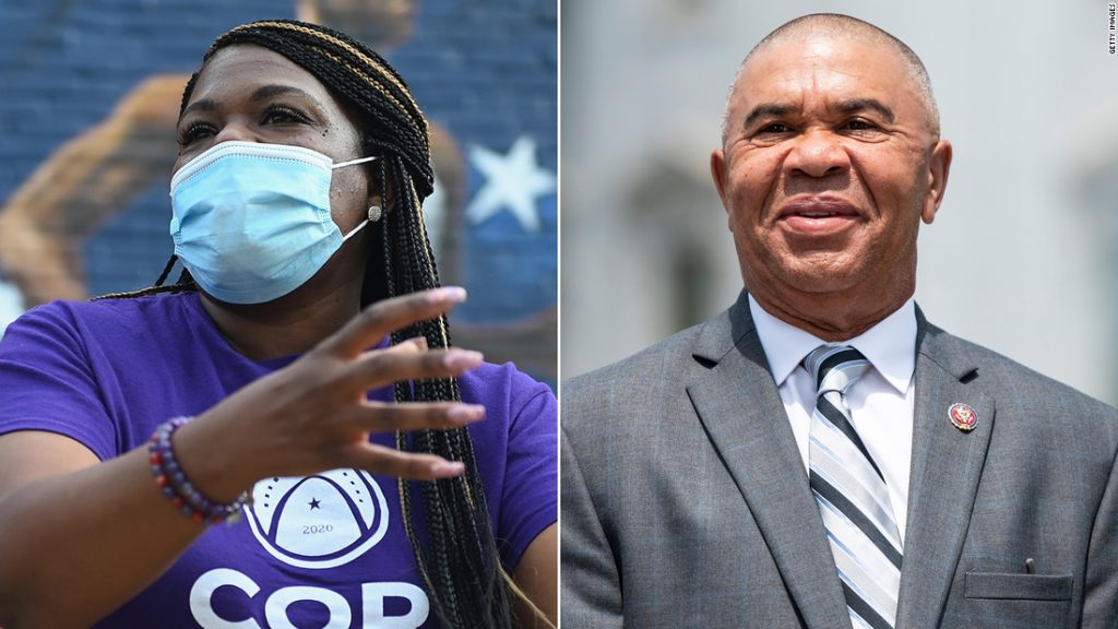 Cori Bush, at left, a progressive activist defeated 20-year incumbent Missouri Rep. William Lacy Clay, at right, in a Democratic primary on Tuesday.
