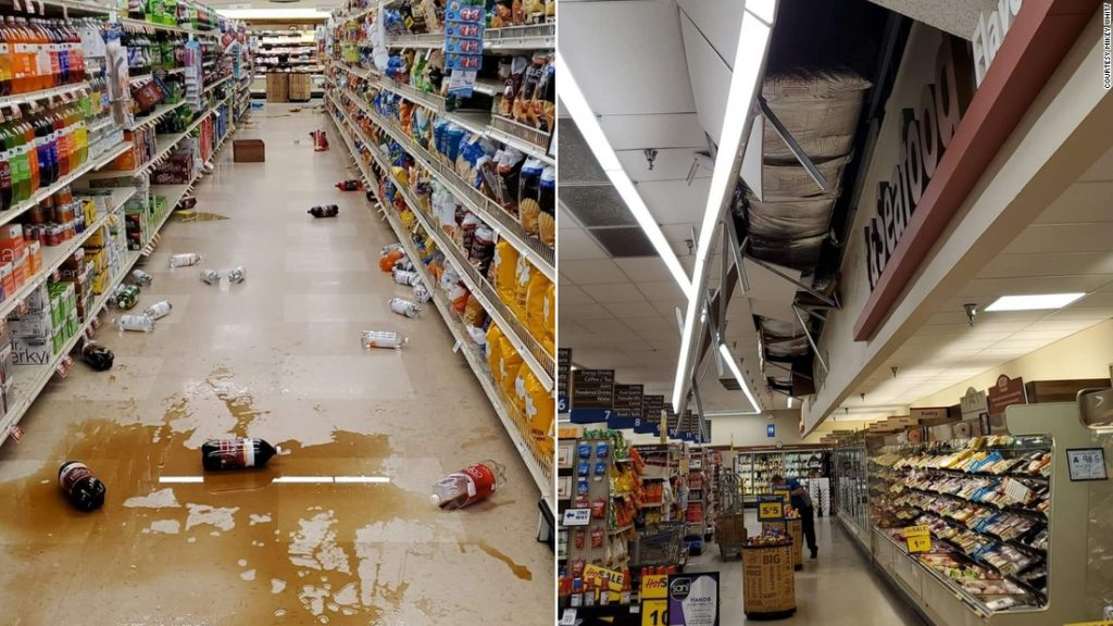 The earthquake knocked items off shelves at a Food Lion, in Sparta, North Carolina.