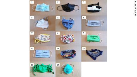 Las 14 máscaras utilizadas en la prueba.